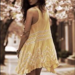 Free People • Voile and Lace Slip Dress in Yellow